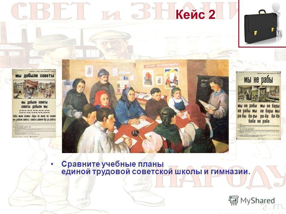 Кейс 2 Сравните учебные планы единой трудовой советской школы и гимназии.