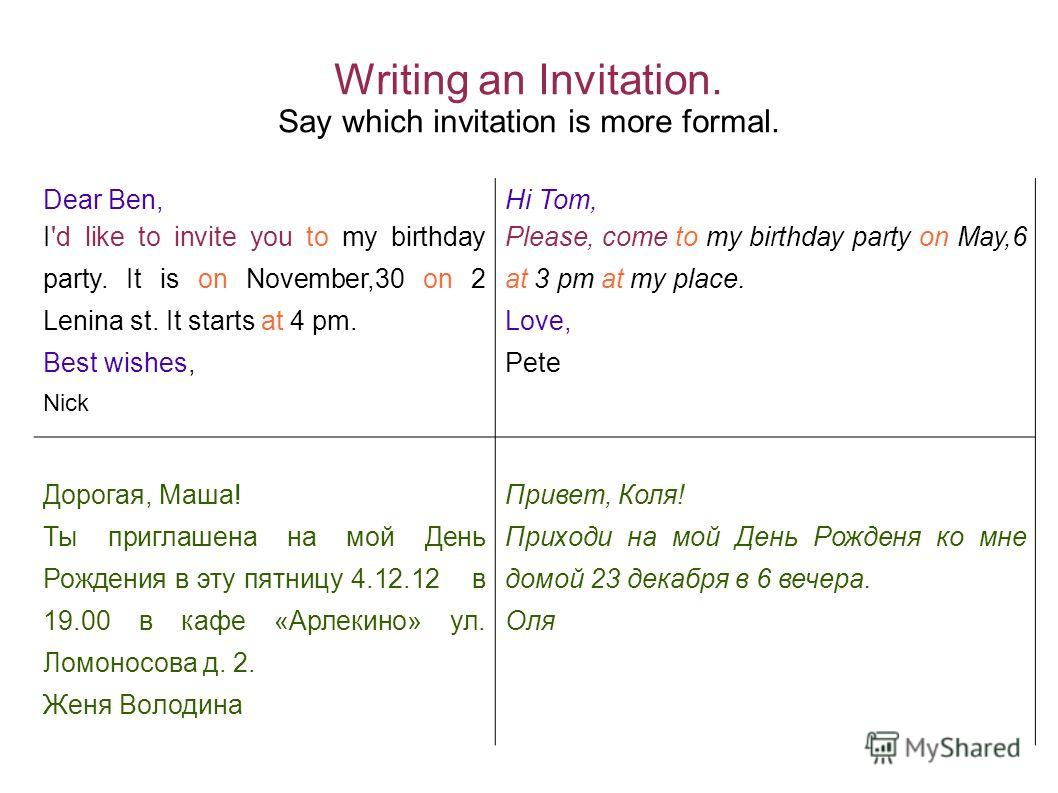 Writing an Invitation. Say which invitation is more formal. Dear Ben, I'd like to invite you to my birthday party. It is on November,30 on 2 Lenina st. It starts at 4 pm. Best wishes, Nick Hi Tom, Please, come to my birthday party on May,6 at 3 pm at