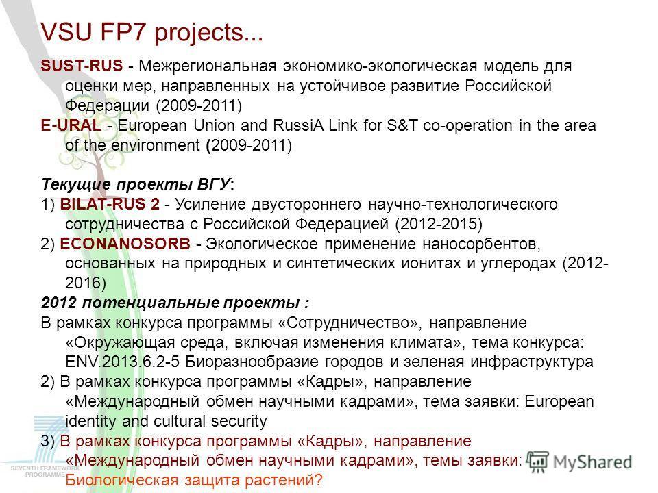 VSU FP7 projects... SUST-RUS - Межрегиональная экономико-экологическая модель для оценки мер, направленных на устойчивое развитие Российской Федерации (2009-2011) E-URAL - European Union and RussiA Link for S&T co-operation in the area of the environ