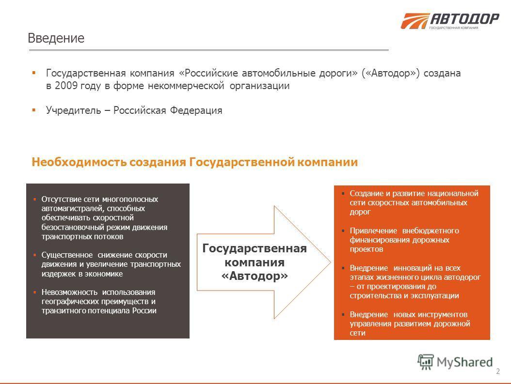 Государственная компания «Российские автомобильные дороги» («Автодор») создана в 2009 году в форме некоммерческой организации Учредитель – Российская Федерация 2 Введение Необходимость создания Государственной компании Отсутствие сети многополосных а
