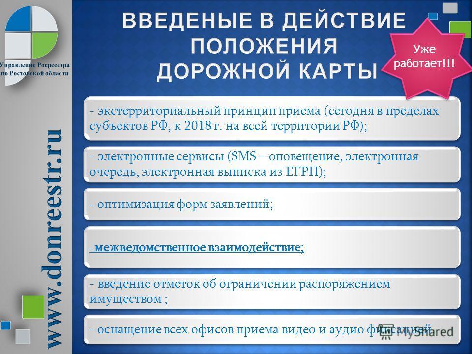- экстерриториальный принцип приема (сегодня в пределах субъектов РФ, к 2018 г. на всей территории РФ); - электронные сервисы (SMS – оповещение, электронная очередь, электронная выписка из ЕГРП); - оптимизация форм заявлений; -межведомственное взаимо