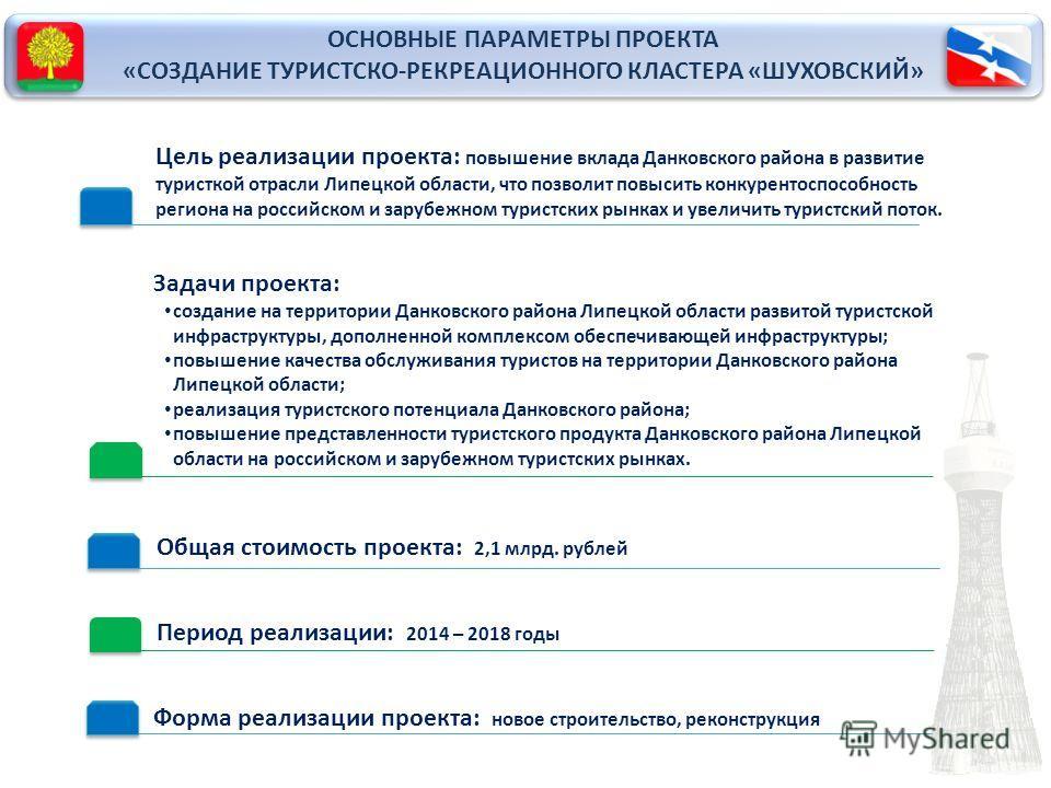 Цель реализации проекта: повышение вклада Данковского района в развитие туристкой отрасли Липецкой области, что позволит повысить конкурентоспособность региона на российском и зарубежном туристских рынках и увеличить туристский поток. Период реализац