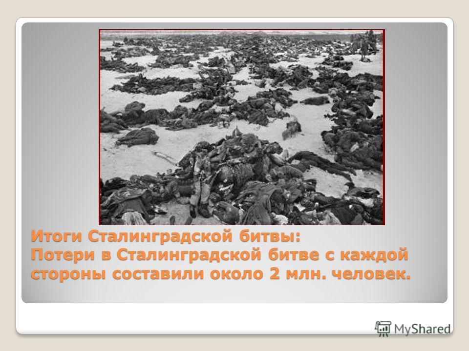 Итоги Сталинградской битвы: Потери в Сталинградской битве с каждой стороны составили около 2 млн. человек.