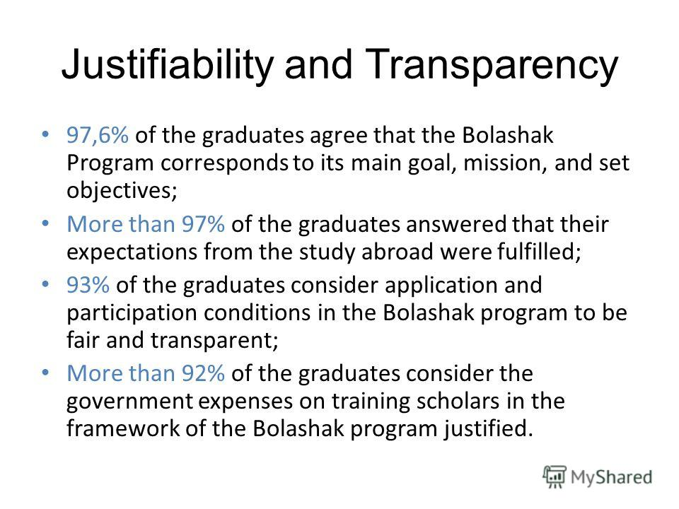 Justifiability and Transparency 97,6% of the graduates agree that the Bolashak Program corresponds to its main goal, mission, and set objectives; More than 97% of the graduates answered that their expectations from the study abroad were fulfilled; 93