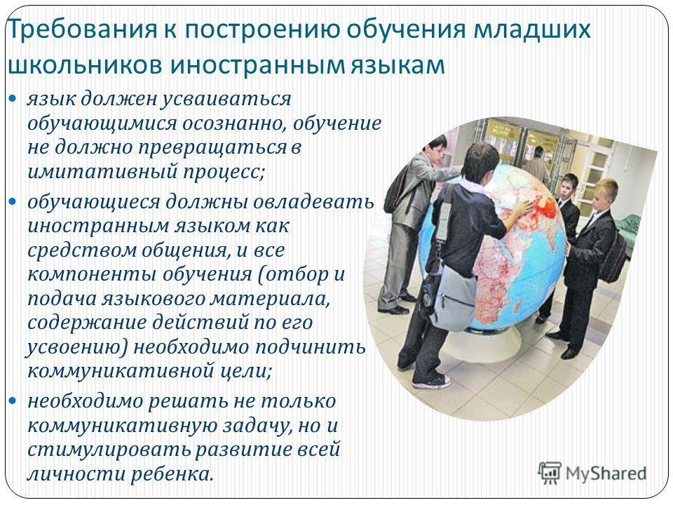 Требования к построению обучения младших школьников иностранным языкам язык должен усваиваться обучающимися осознанно, обучение не должно превращаться в имитативный процесс ; обучающиеся должны овладевать иностранным языком как средством общения, и в
