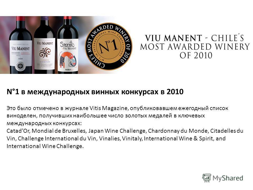 N°1 в международных винных конкурсах в 2010 Это было отмечено в журнале Vitis Magazine, опубликовавшем ежегодный список виноделен, получивших наибольшее число золотых медалей в ключевых международных конкурсах: CatadOr, Mondial de Bruxelles, Japan Wi