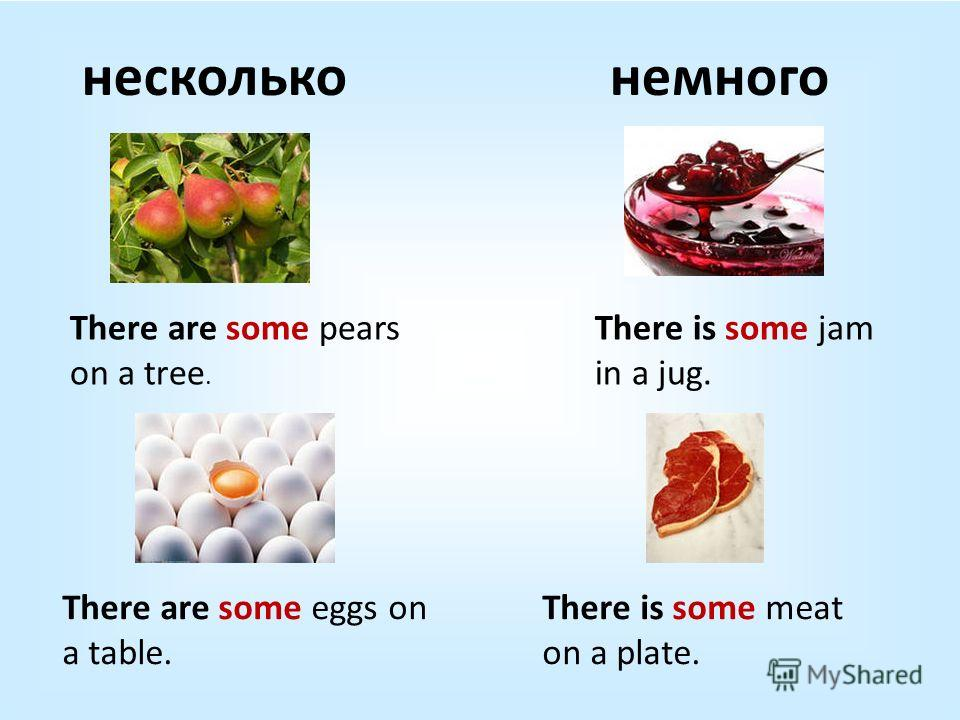 нескольконемного There are some pears on a tree. There is some jam in a jug. There are some eggs on a table. There is some meat on a plate.