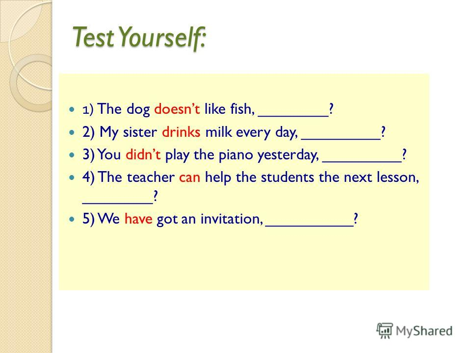 Test Yourself: 1) The dog doesnt like fish, ________? 2) My sister drinks milk every day, _________? 3) You didnt play the piano yesterday, _________? 4) The teacher can help the students the next lesson, ________? 5) We have got an invitation, _____