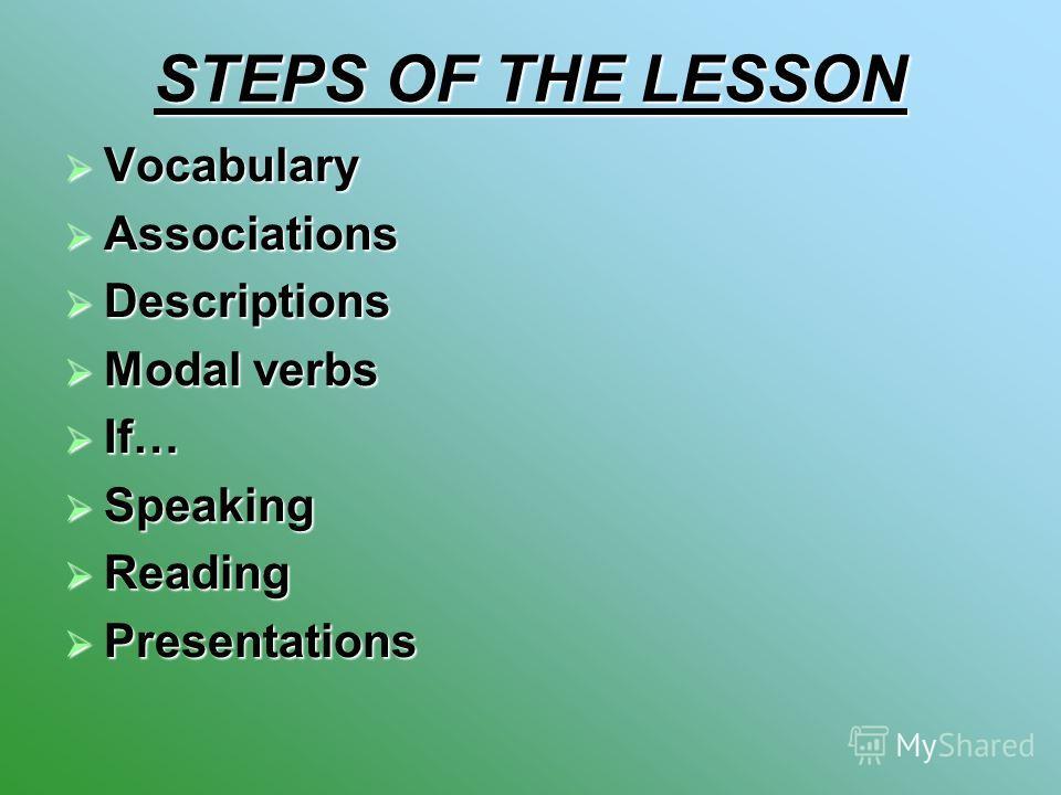STEPS OF THE LESSON Vocabulary Vocabulary Associations Associations Descriptions Descriptions Modal verbs Modal verbs If… If… Speaking Speaking Reading Reading Presentations Presentations