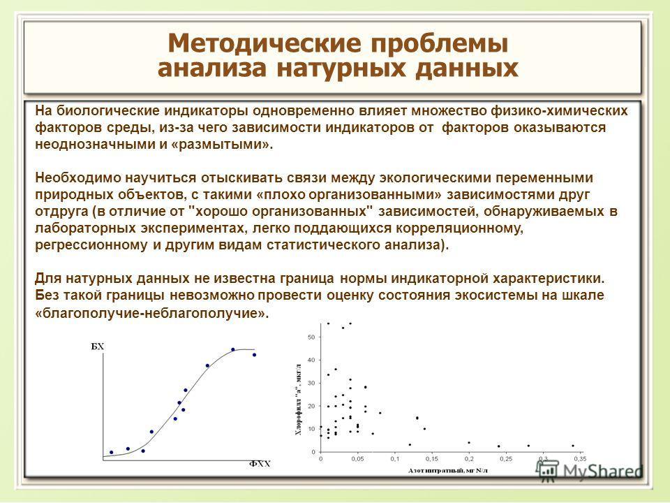 Методические проблемы анализа натурных данных На биологические индикаторы одновременно влияет множество физико-химических факторов среды, из-за чего зависимости индикаторов от факторов оказываются неоднозначными и «размытыми». Необходимо научиться от