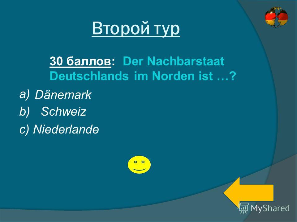 Второй тур 30 баллов: Der Nachbarstaat Deutschlands im Norden ist …? a) b) Schweiz c) Niederlande Dänemark