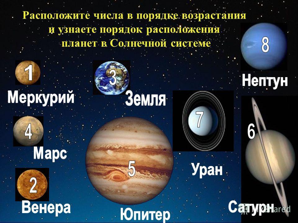 Расположите числа в порядке возрастания и узнаете порядок расположения планет в Солнечной системе
