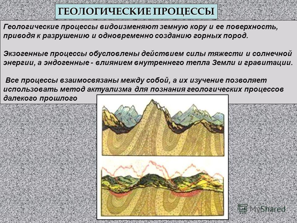 ГЕОЛОГИЧЕСКИЕ ПРОЦЕССЫ Геологические процессы видоизменяют земную кору и ее поверхность, приводя к разрушению и одновременно созданию горных пород. Экзогенные процессы обусловлены действием силы тяжести и солнечной энергии, а эндогенные - влиянием вн