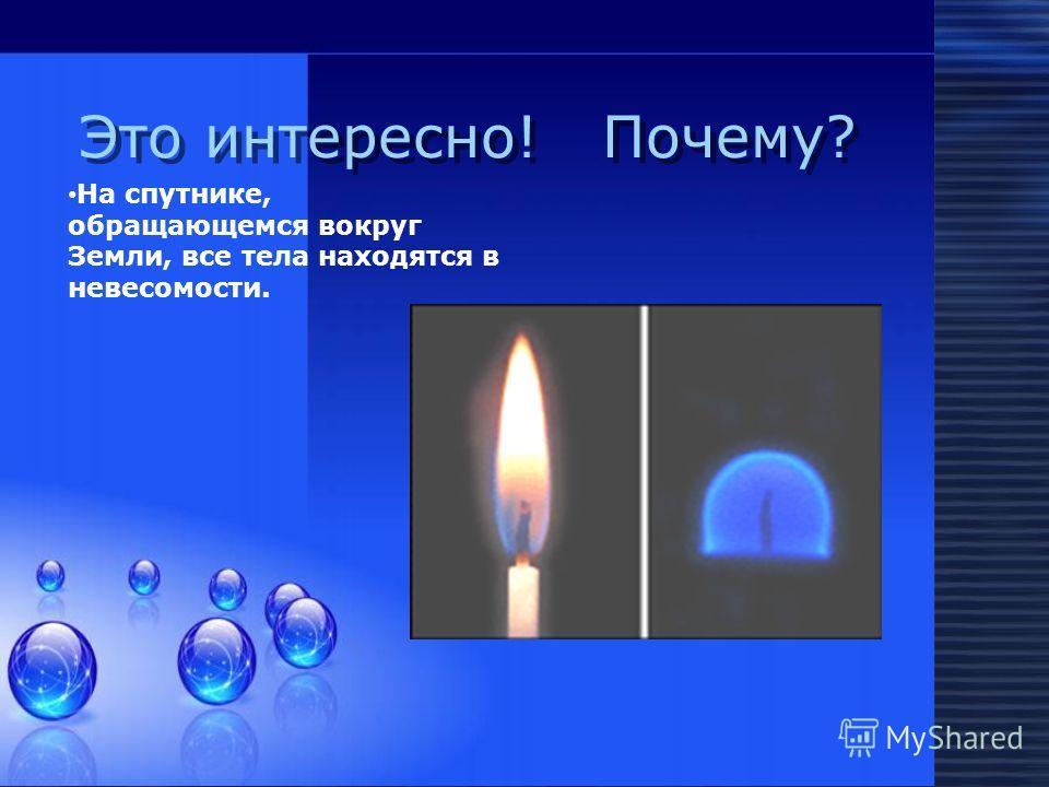 Это интересно! Почему? На спутнике, обращающемся вокруг Земли, все тела находятся в невесомости.