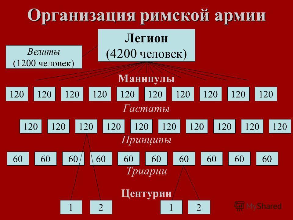Организация римской армии Манипулы Гастаты Принципы Триарии Центурии Легион (4200 человек) 120 60 Велиты (1200 человек) 1212