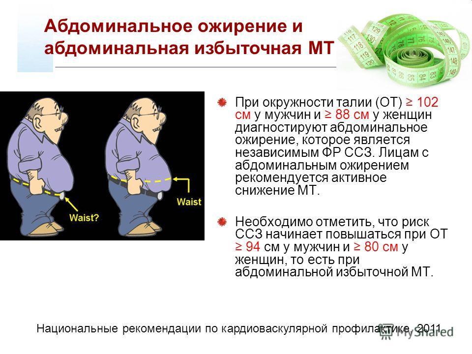 При окружности талии (ОТ) 102 см у мужчин и 88 см у женщин диагностируют абдоминальное ожирение, которое является независимым ФР ССЗ. Лицам с абдоминальным ожирением рекомендуется активное снижение МТ. Необходимо отметить, что риск ССЗ начинает повыш