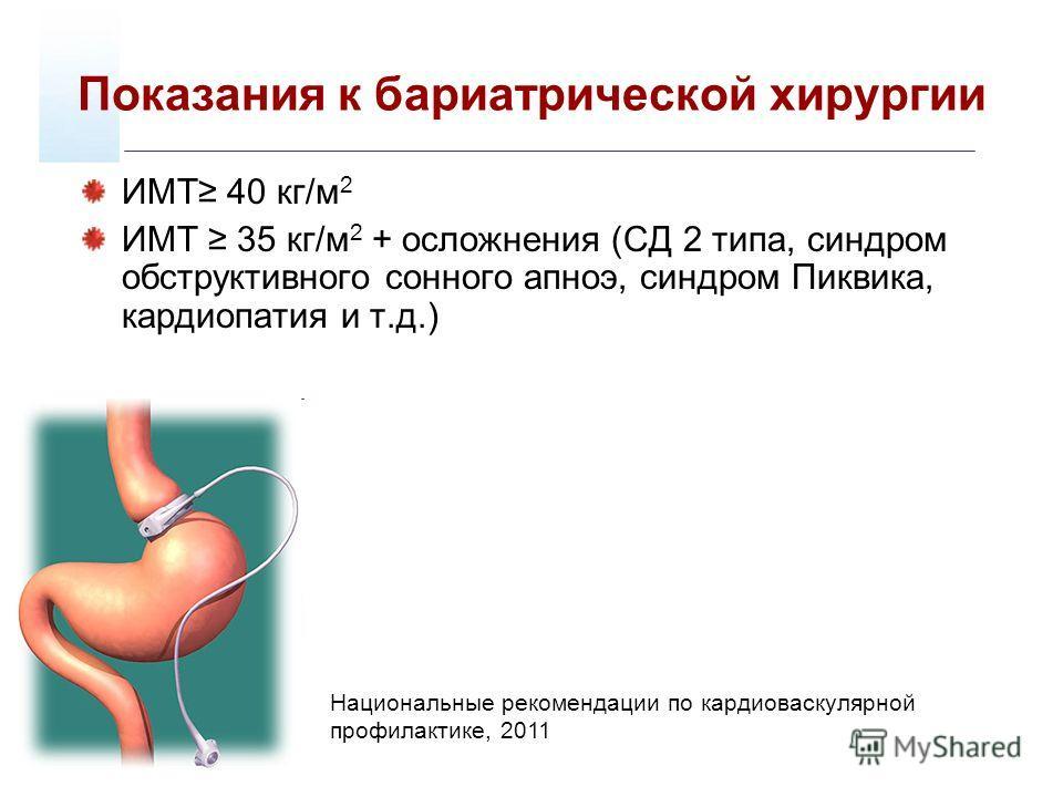 Показания к бариатрической хирургии ИМТ 40 кг/м 2 ИМТ 35 кг/м 2 + осложнения (СД 2 типа, синдром обструктивного сонного апноэ, синдром Пиквика, кардиопатия и т.д.) Национальные рекомендации по кардиоваскулярной профилактике, 2011