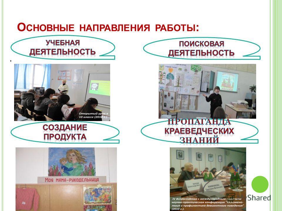 О СНОВНЫЕ НАПРАВЛЕНИЯ РАБОТЫ :.