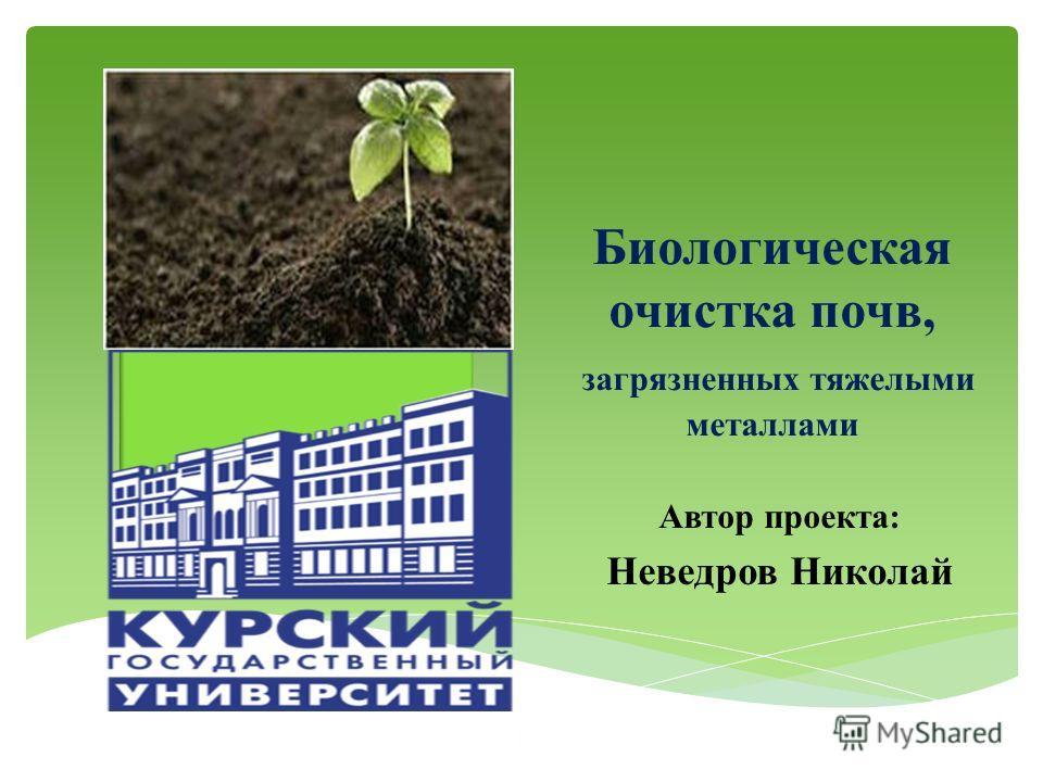 Биологическая очистка почв, загрязненных тяжелыми металлами Автор проекта: Неведров Николай 1
