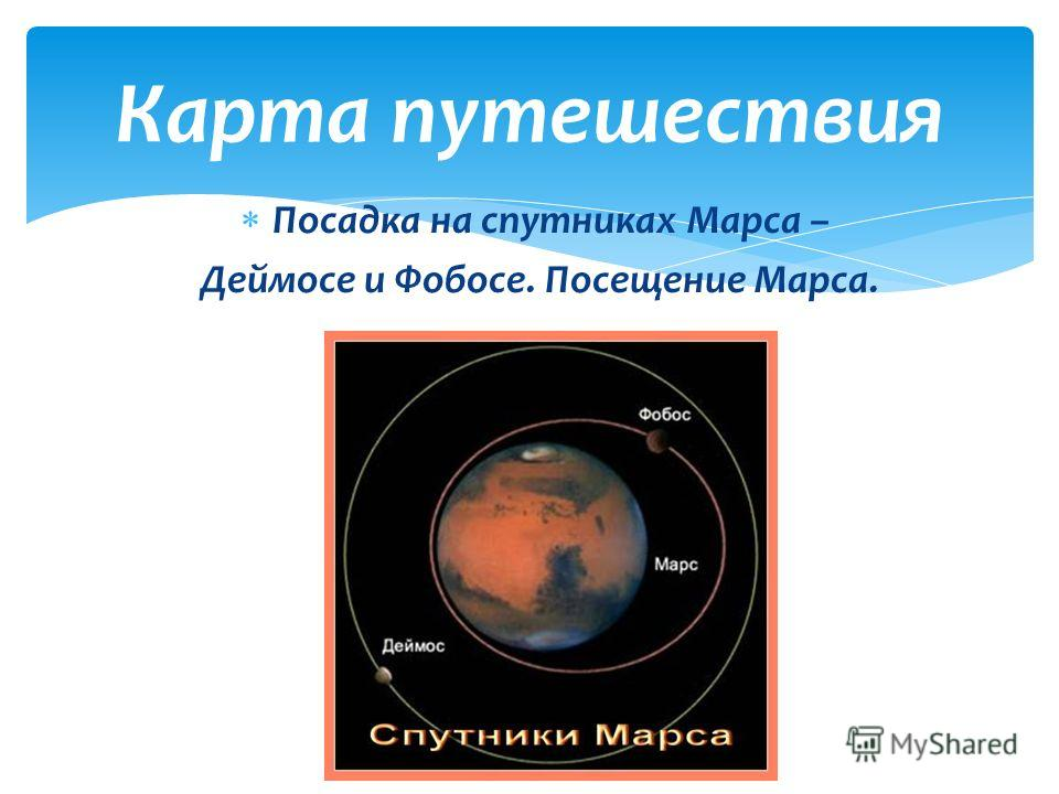 Посадка на спутниках Марса – Деймосе и Фобосе. Посещение Марса. Карта путешествия