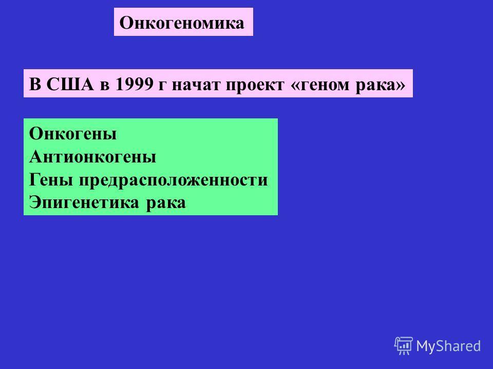 Онкогеномика В США в 1999 г начат проект «геном рака» Онкогены Антионкогены Гены предрасположенности Эпигенетика рака