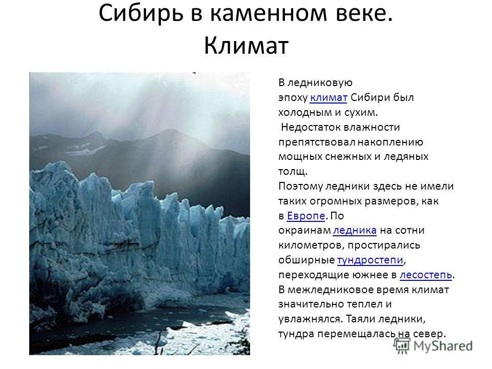 Сибирь в каменном веке. Климат В ледниковую эпоху климат Сибири был холодным и сухим.климат Недостаток влажности препятствовал накоплению мощных снежных и ледяных толщ. Поэтому ледники здесь не имели таких огромных размеров, как в Европе. По окраинам