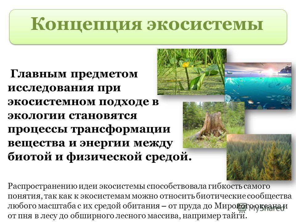 Концепция экосистемы Главным предметом исследования при экосистемном подходе в экологии становятся процессы трансформации вещества и энергии между биотой и физической средой. Распространению идеи экосистемы способствовала гибкость самого понятия, так