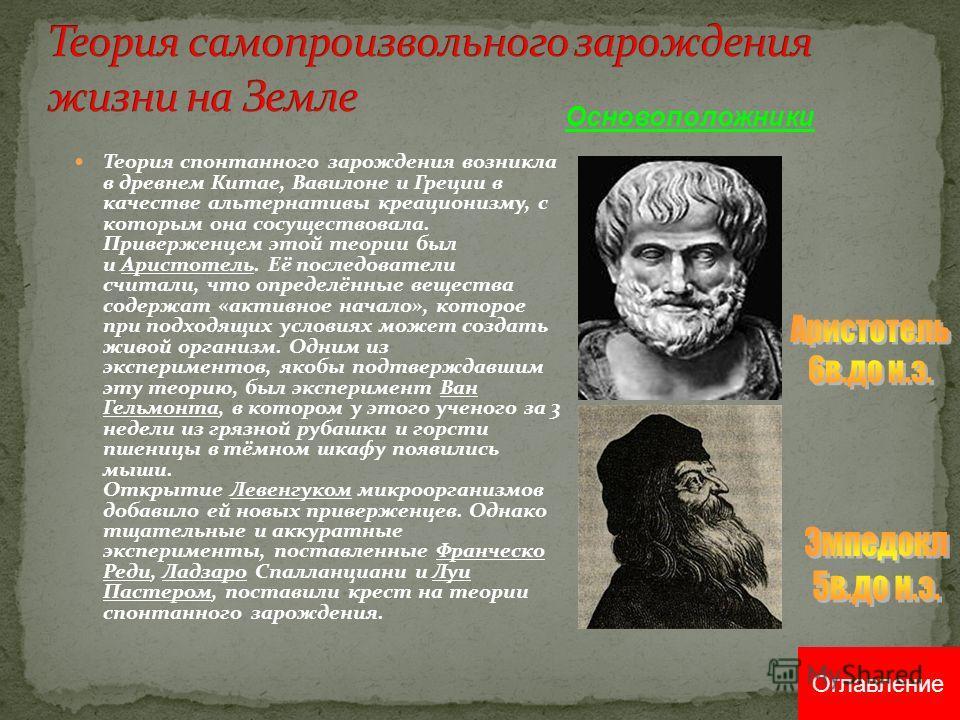 Теория спонтанного зарождения возникла в древнем Китае, Вавилоне и Греции в качестве альтернативы креационизму, с которым она сосуществовала. Приверженцем этой теории был и Аристотель. Её последователи считали, что определённые вещества содержат «акт