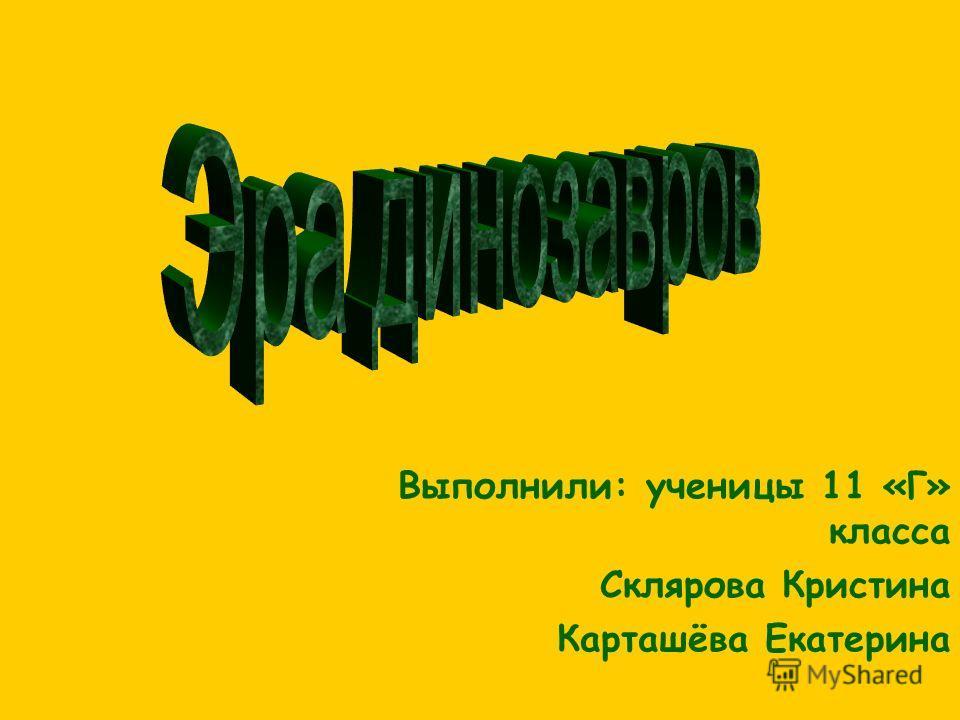 Выполнили: ученицы 11 «Г» класса Склярова Кристина Карташёва Екатерина