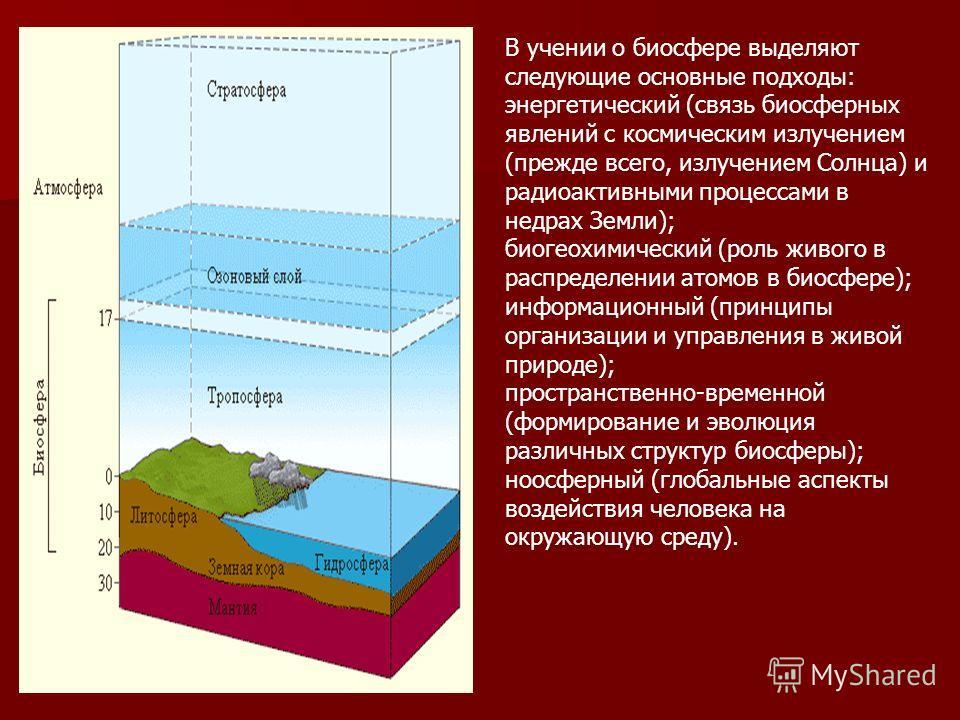 В учении о биосфере выделяют следующие основные подходы: энергетический (связь биосферных явлений с космическим излучением (прежде всего, излучением Солнца) и радиоактивными процессами в недрах Земли); биогеохимический (роль живого в распределении ат