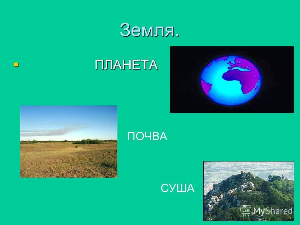Земля. ПЛАНЕТА ПЛАНЕТА ПОЧВА СУША