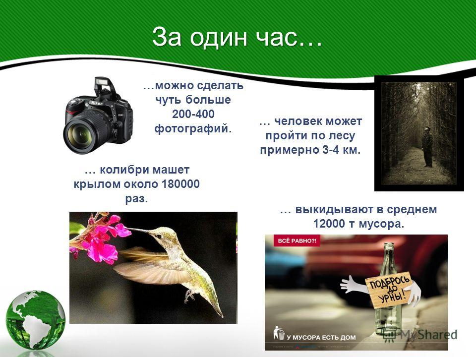 … колибри машет крылом около 180000 раз. …можно сделать чуть больше 200-400 фотографий. … человек может пройти по лесу примерно 3-4 км. … выкидывают в среднем 12000 т мусора. За один час…