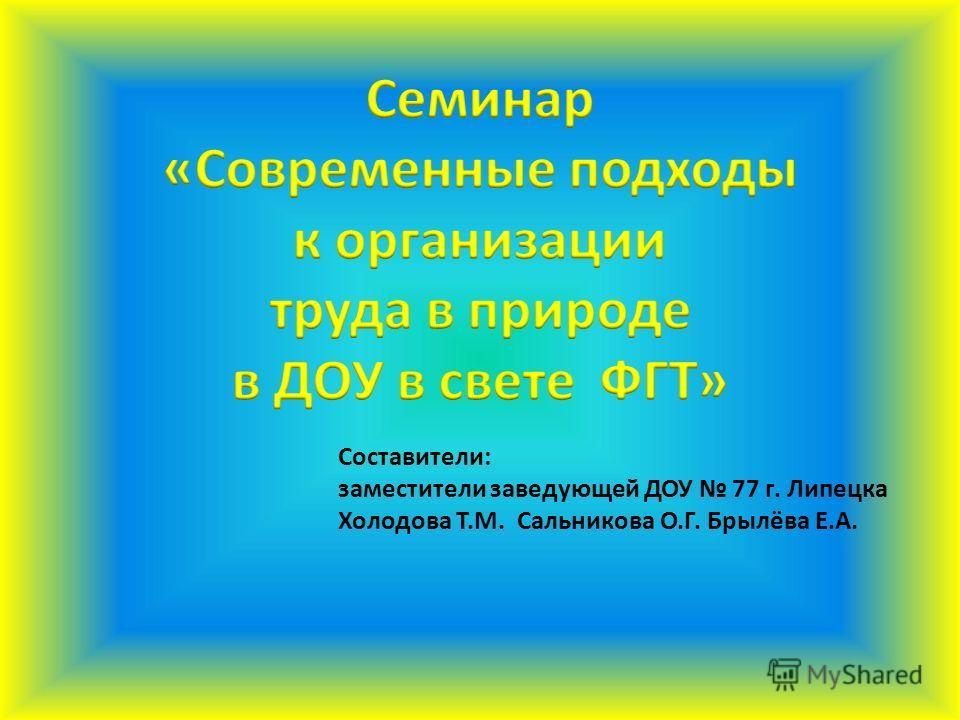 Составители: заместители заведующей ДОУ 77 г. Липецка Холодова Т.М. Сальникова О.Г. Брылёва Е.А.