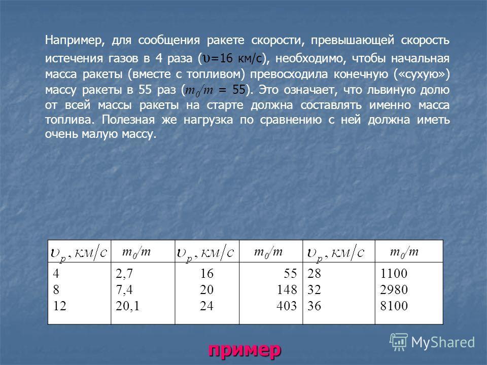 т 0 /т 4 8 12 2,7 7,4 20,1 16 20 24 55 148 403 28 32 36 1100 2980 8100 Например, для сообщения ракете скорости, превышающей скорость истечения газов в 4 раза ( υ =16 км/с), необходимо, чтобы начальная масса ракеты (вместе с топливом) превосходила ко