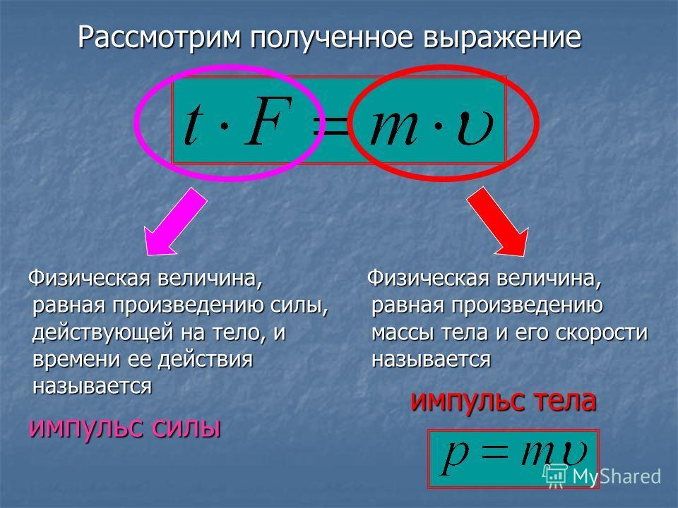 Физическая величина, равная произведению силы, действующей на тело, и времени ее действия называется Физическая величина, равная произведению силы, действующей на тело, и времени ее действия называется Физическая величина, равная произведению массы т