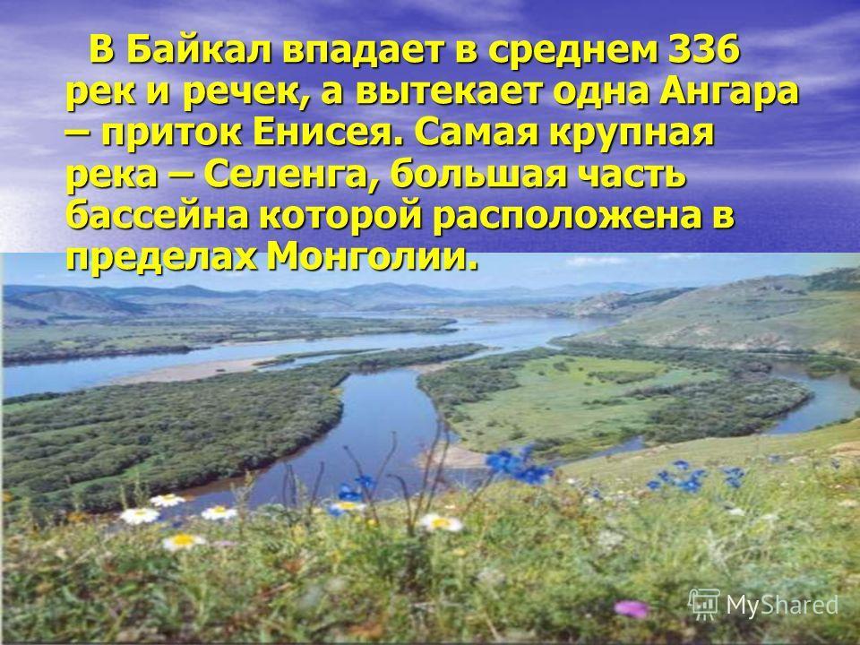 В Байкал впадает в среднем 336 рек и речек, а вытекает одна Ангара – приток Енисея. Самая крупная река – Селенга, большая часть бассейна которой расположена в пределах Монголии. В Байкал впадает в среднем 336 рек и речек, а вытекает одна Ангара – при