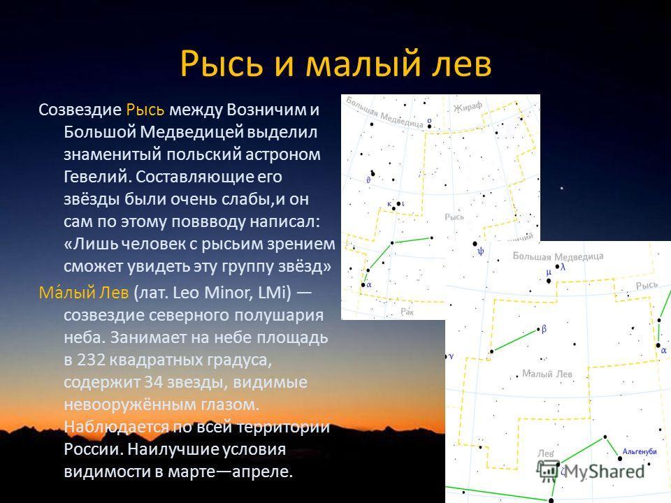 Рысь и малый лев Созвездие Рысь между Возничим и Большой Медведицей выделил знаменитый польский астроном Гевелий. Составляющие его звёзды были очень слабы,и он сам по этому поввводу написал: «Лишь человек с рысьим зрением сможет увидеть эту группу зв