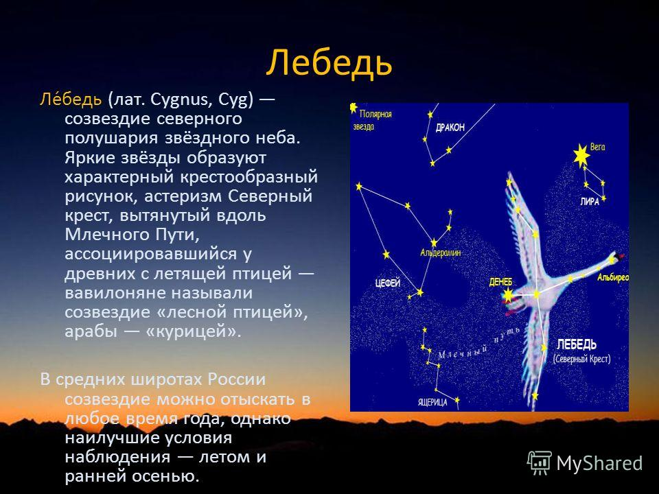 Лебедь Ле́бедь (лат. Cygnus, Cyg) созвездие северного полушария звёздного неба. Яркие звёзды образуют характерный крестообразный рисунок, астеризм Северный крест, вытянутый вдоль Млечного Пути, ассоциировавшийся у древних с летящей птицей вавилоняне