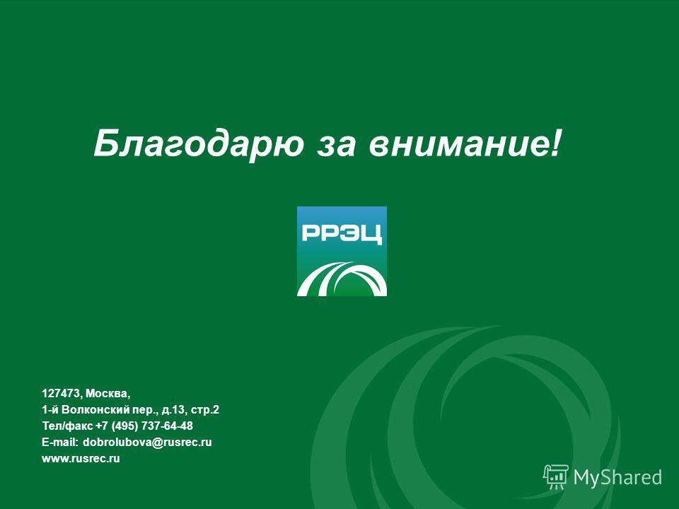 Благодарю за внимание! 127473, Москва, 1-й Волконский пер., д.13, стр.2 Тел/факс +7 (495) 737-64-48 E-mail: dobrolubova@rusrec.ru www.rusrec.ru