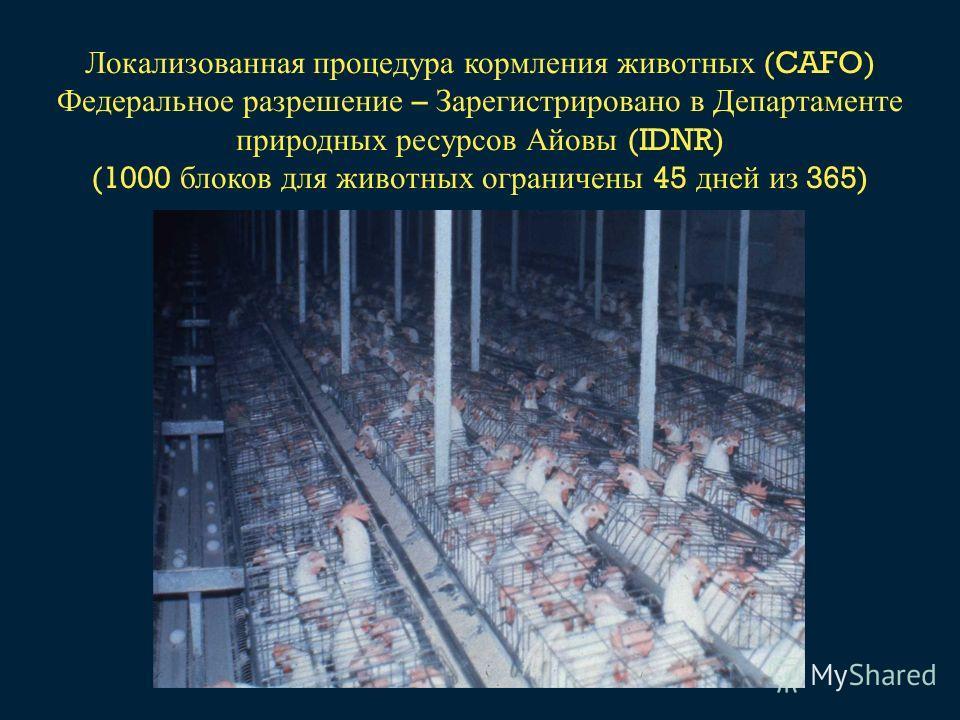 Локализованная процедура кормления животных (CAFO) Федеральное разрешение – Зарегистрировано в Департаменте природных ресурсов Айовы (IDNR) (1000 блоков для животных ограничены 45 дней из 365)