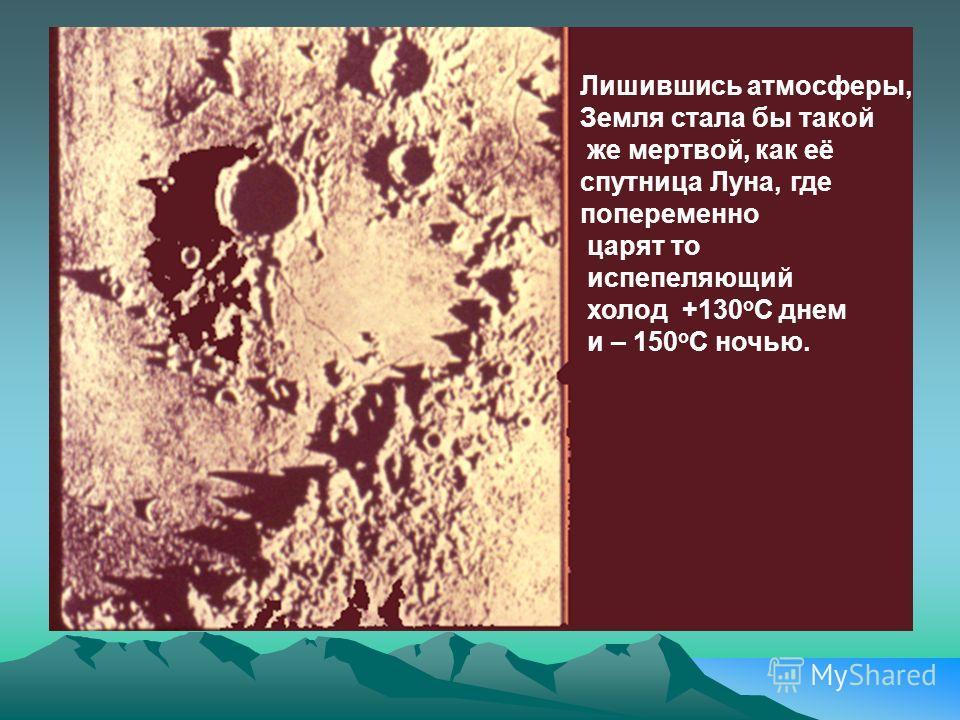 Лишившись атмосферы, Земля стала бы такой же мертвой, как её спутница Луна, где попеременно царят то испепеляющий холод +130 о С днем и – 150 о С ночью.