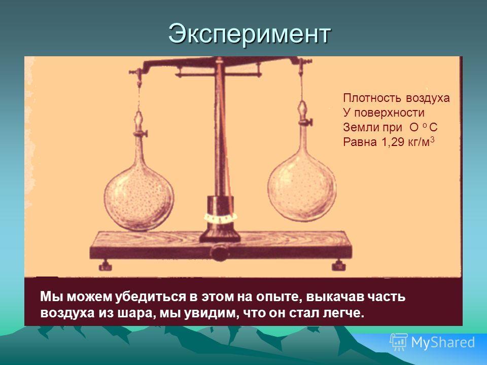 Эксперимент Плотность воздуха У поверхности Земли при О о С Равна 1,29 кг/м 3 Мы можем убедиться в этом на опыте, выкачав часть воздуха из шара, мы увидим, что он стал легче.