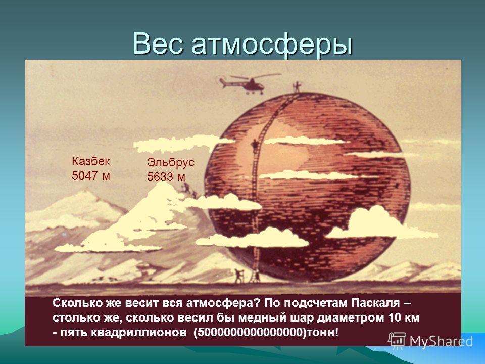 Вес атмосферы Казбек 5047 м Эльбрус 5633 м Сколько же весит вся атмосфера? По подсчетам Паскаля – столько же, сколько весил бы медный шар диаметром 10 км - пять квадриллионов (5000000000000000)тонн!