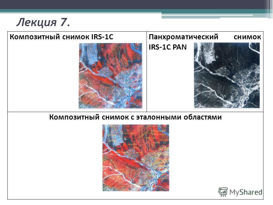 Лекция 7. Композитный снимок IRS-1CПанхроматический снимок IRS-1C PAN Композитный снимок с эталонными областями