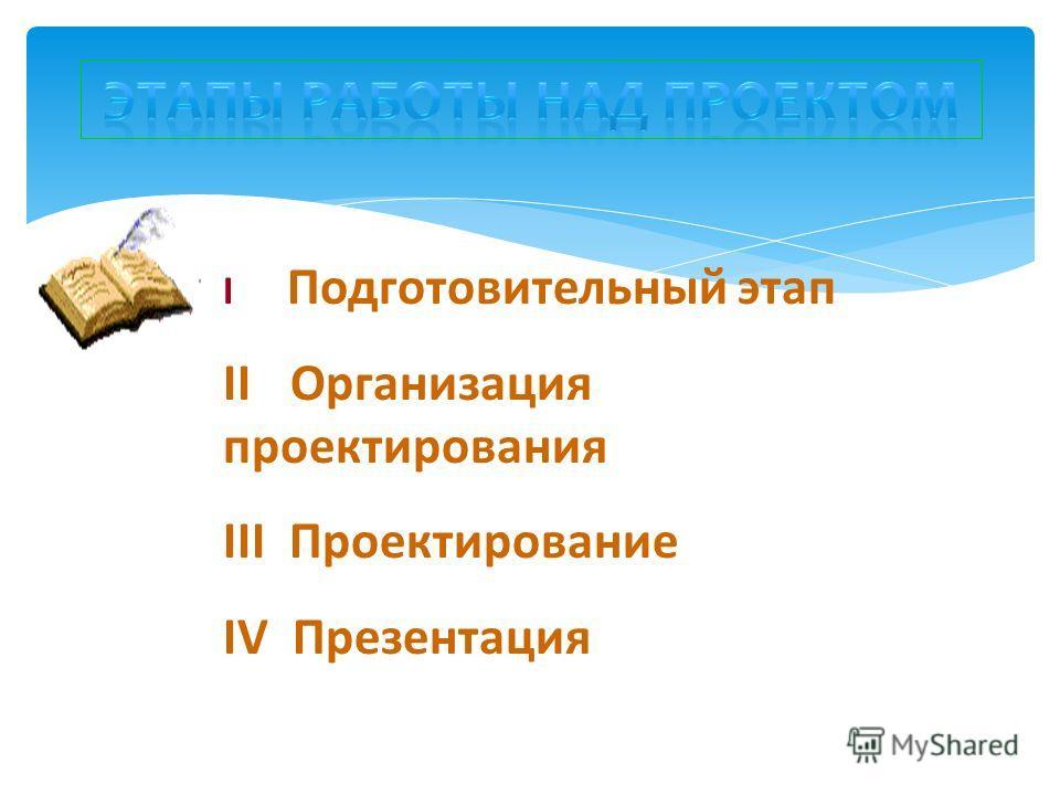 I Подготовительный этап II Организация проектирования III Проектирование IV Презентация