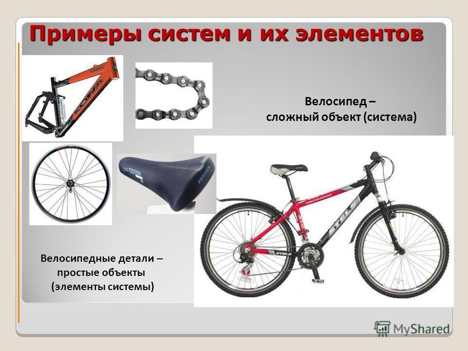 Примеры систем и их элементов Велосипедные детали – простые объекты (элементы системы) Велосипед – сложный объект (система)