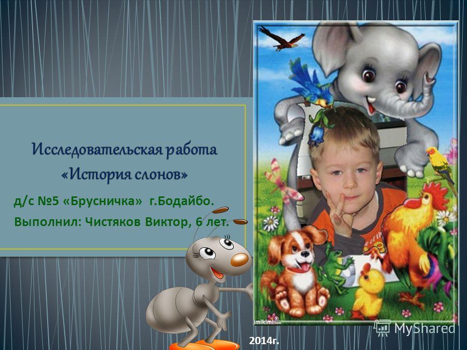 д / с 5 « Брусничка » г. Бодайбо. Выполнил : Чистяков Виктор, 6 лет. 2014 г.