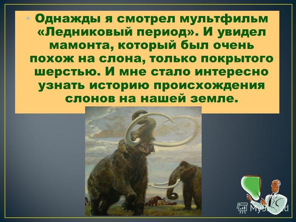 Однажды я смотрел мультфильм «Ледниковый период». И увидел мамонта, который был очень похож на слона, только покрытого шерстью. И мне стало интересно узнать историю происхождения слонов на нашей земле.
