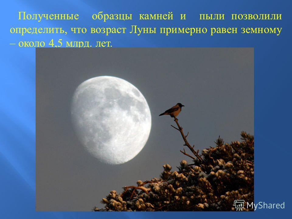 Полученные образцы камней и пыли позволили определить, что возраст Луны примерно равен земному – около 4,5 млрд. лет.