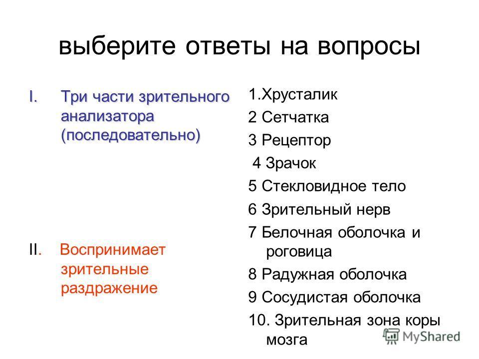 выберите ответы на вопросы I.Три части зрительного анализатора (последовательно) II. Воспринимает зрительные раздражение 1. Хрусталик 2 Сетчатка 3 Рецептор 4 Зрачок 5 Стекловидное тело 6 Зрительный нерв 7 Белочная оболочка и роговица 8 Радужная оболо